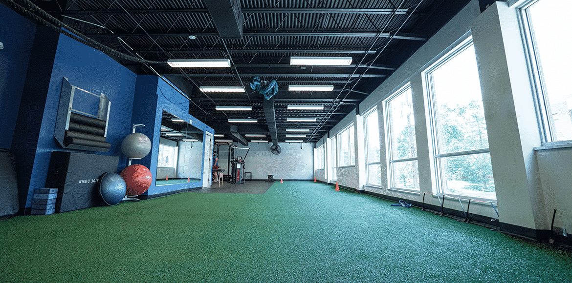 Turf running rehab area at Cohen Health and Performance