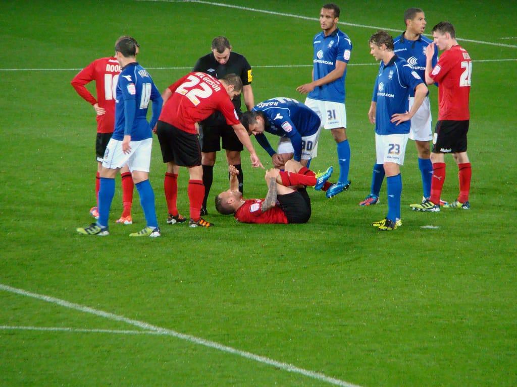 Soccer player knee injury